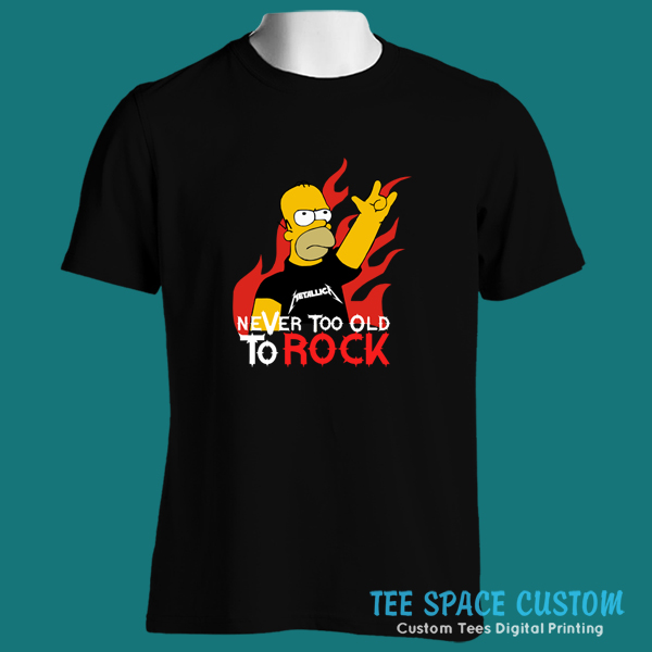 79404d77d2b The HOMER SIMPSON Metallica Never Too Old To Rock Black T-Shirt ...