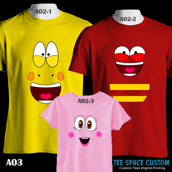 Cartoon Couple Design Tees Shirts Couple Tee Tops T Shirt: LARVA Cartoon Yellow, Red & Pink Face