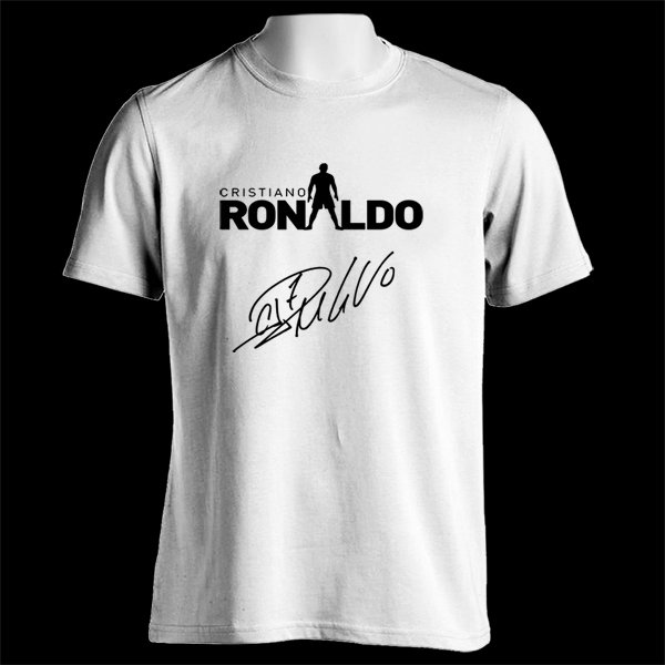 real madrid cristiano ronaldo signature silhouette white t shirt tee space custom. Black Bedroom Furniture Sets. Home Design Ideas