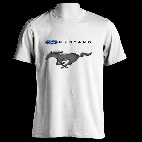 Ladies Size Ford Mustang Design T Shirt Tee Shirt Pony Tri: FORD Mustang Automobile Pony Car Racing Motor 1st White T