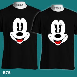 B75 - Mickey & Minnie Big Face - Color Tee