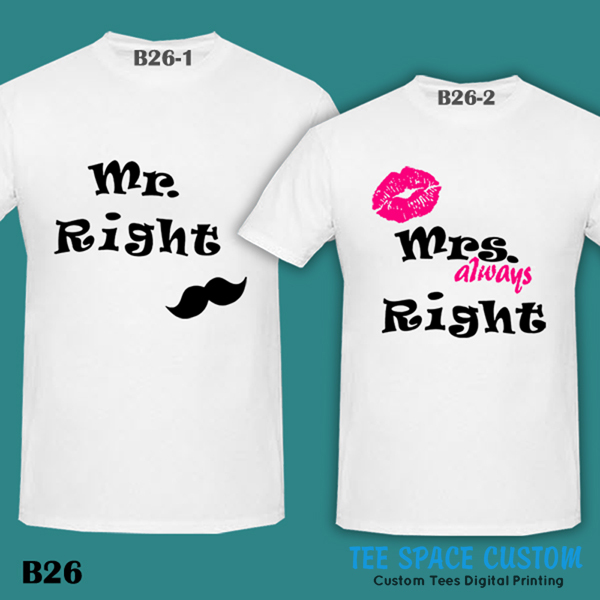 75cdf7588 MR RIGHT & MRS ALWAYS RIGHT Couple Tee Bride Groom   White T-Shirt ...